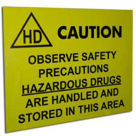 Bright yellow CAUTION hazardous drug sign | Maxpert Medical