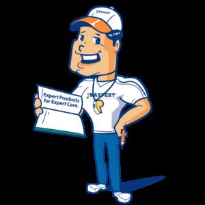 Maxpert mascot holding Expert Products for Expert Care sign | Maxpert Medical