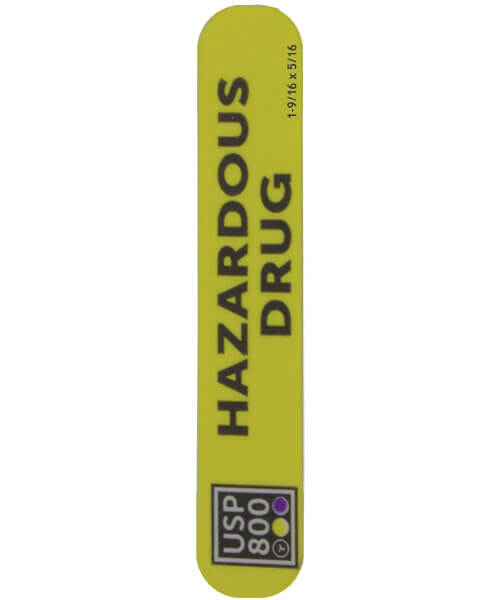 "USP 800 bright yellow Hazardous Drug Label 1-9/16"" x 5/16"" 