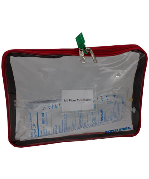 Clear tamper evident security bag with green tag and IV fluid bag | Maxpert Medical