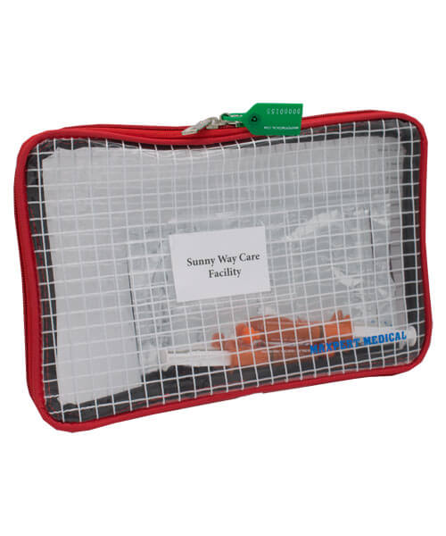Sealed small tamper evident reusable security bag with green tag and syringes inside | Maxpert Medical