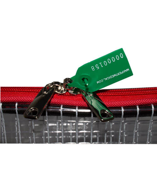 Close up of green zipper tag on sealed small tamper evident security bag | Maxpert Medical