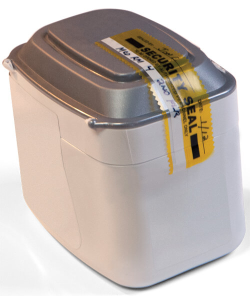Strip of bright yellow tamper security seal tape in use on container | Maxpert Medical