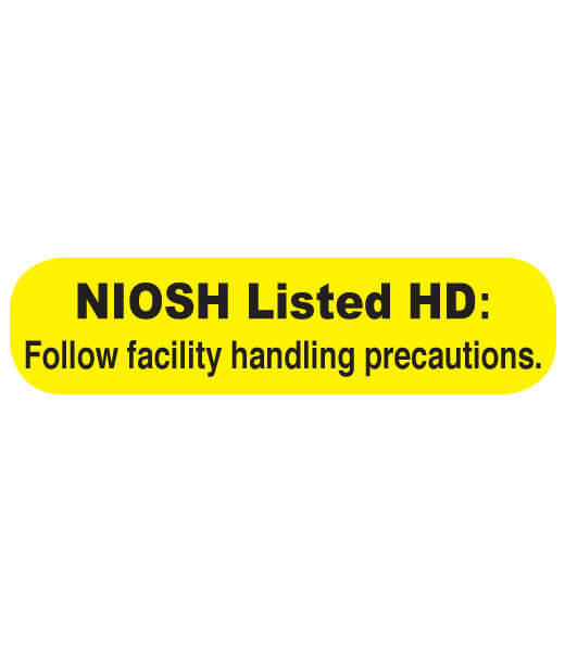 Bright yellow NIOSH listed hazardous drug label | Maxpert Medical