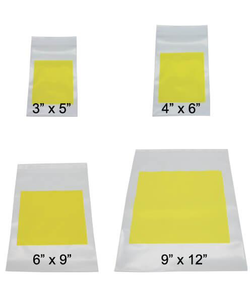Four sizes of white hazardous drug disposal zip closure bags with blank bright yellow labels   Maxpert Medical