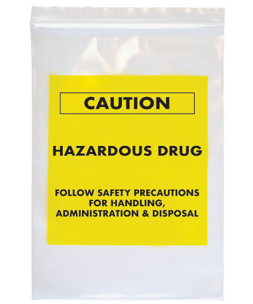 Caution hazardous drug transport bag with blank bright yellow label | Maxpert Medical
