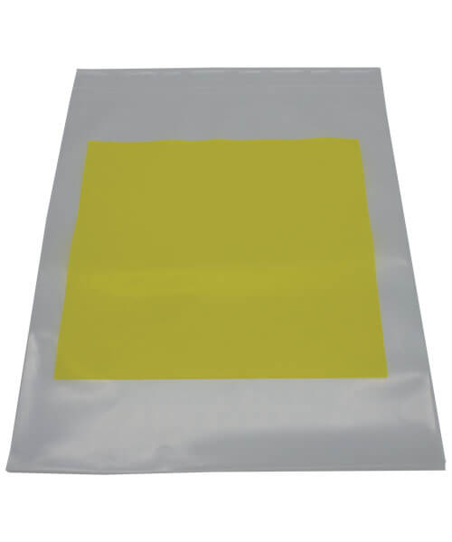White hazardous drug disposal 9 by 12 zip bag with blank bright yellow label | Maxpert Medical
