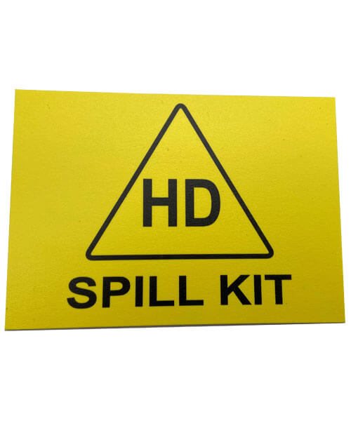 Bright yellow square hazardous drug spill kit sign | Maxpert Medical