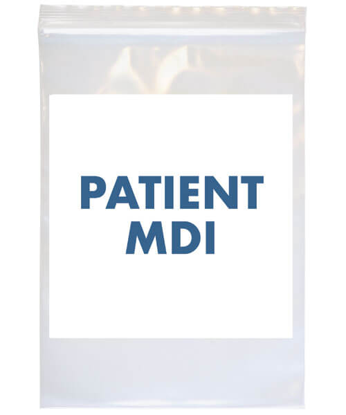 Patient MDI bag with white label | Maxpert Medical