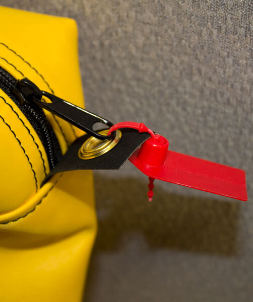 Zipper close up on supply bag for hazardous drug spill kits | Maxpert Medical